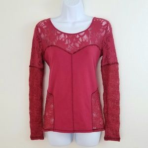 Free People Casual Long Sleeves Top w Lace Details
